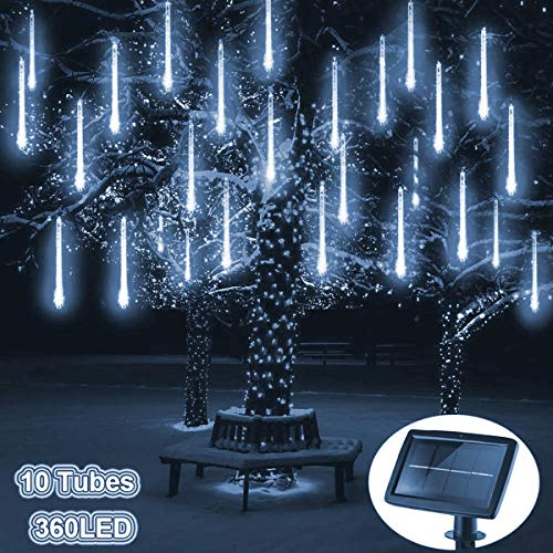 Solar Meteorschauer Regenlichter,KINGCOO Wasserdichte 30cm 10 Tube 360LEDs Schneefall Regentropfen Draussen Weihnachten Lichterketten für Hochzeit Party Garten Dekoration (Weiß)