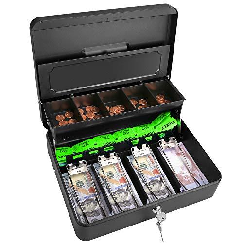 "Cash Box Steel Money Box 11.8""L x 9.5""W Cash-Box-with-Money-Tray Black WOT I"