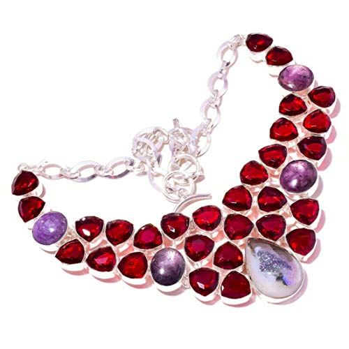jewels house Collar hecho a mano para mujer con piedra preciosa drusa, de titanio y chapado en plata