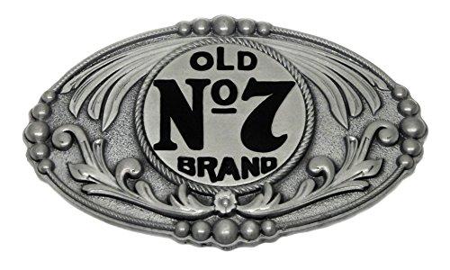 Jack Daniel`s Hebilla de Cinturón - Antiguo No 7 Marca Oval Conformado Occidental Estilo - Producto con Licencia Oficial