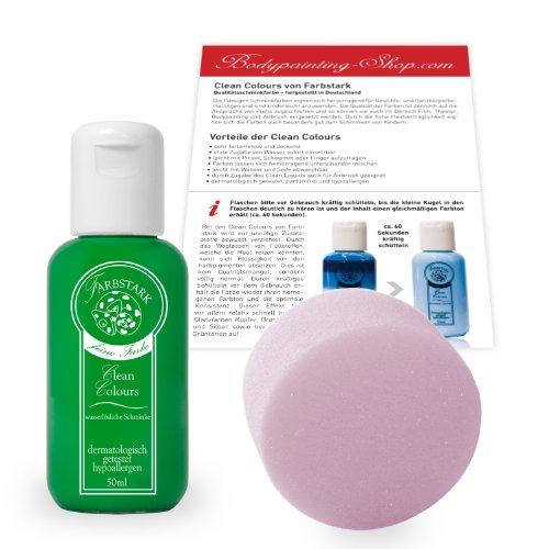 Farbstark Bodypainting Farben - hautfreundliche Körperfarbe in Profi Qualität (auch für Airbrush geeignet), Set: 50 ml Farbe + Schminkschwamm (Hellgrün)