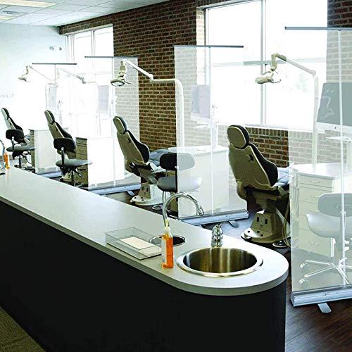 Clear Plastic Screen Sneeze Guard Protective Pop Up Roller Banner | Transparent Hygiene Screen | Office, Restaurant, Classroom, Gym