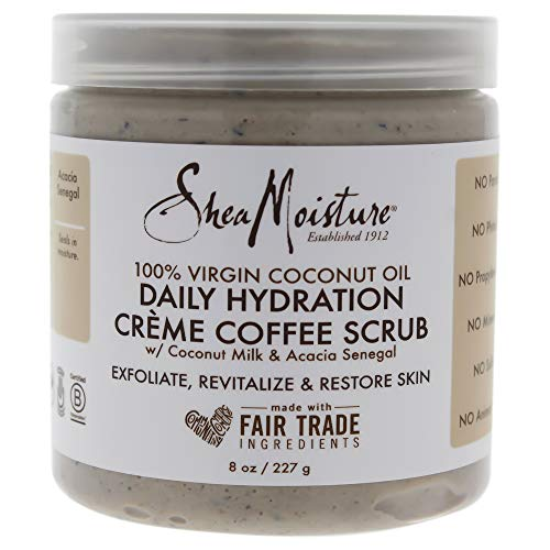 Shea Moisture 100 Percent Virgin Coconut Oil Daily Hydration Creme Coffee Scrub By Shea Moisture for Unisex - 8 Oz Scrub, 8 Ounce
