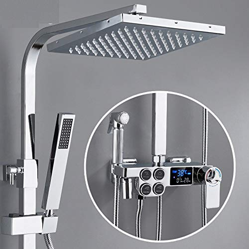 IOMLOP Sistema de Ducha Juego de Ducha Digital Caliente y fría Sistema de Ducha de baño Grifo de Ducha de Oro Negro Cabezal de Ducha CuadradoSistema de Ducha de baño, D4, termostático
