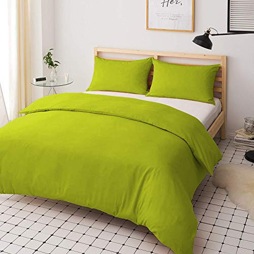 Roy Textile Poly-Cotton Duvet Cover Set with Matching Pillow Cases – Lime Green - Single Double King Super King (Single)