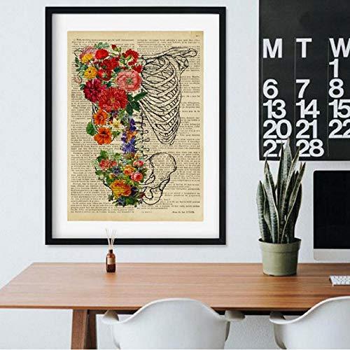 LLXHG borstmand skelet geneeskunde poster druk orthopedie verpleegster geschenk menselijke wervelkolom anatomie kantoor muurkunst schilderij schilderij schilderij 30 x 40 cm geen lijst