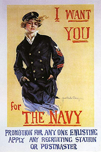 I Want You For The Navy Vintage World War One WW1 WWI USA Military Propaganda Poster