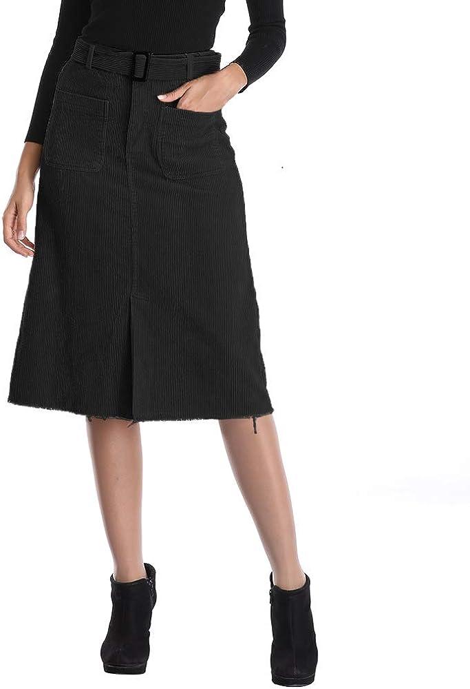 Uusollecy Womens Casual High Waist Corduroy Midi Skirt with Pockets