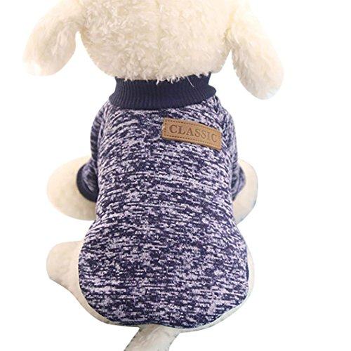 Mascotas Perros Ropa de Invierno AccesoriosSuéter de Perro Mascota 2018 Abrigo Punto Ropa Chaleco Chaqueta para Mascotas (Armada, S)