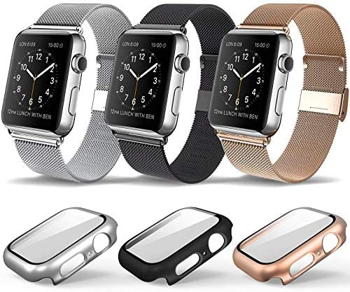 3 Pack Magnetic iWatch Bands with Case Compatible for Apple Watch Band Milanese Loop for Apple product image