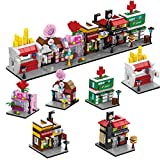 FUN LITTLE TOYS Creator Townhouse Town Playset Candy Shop & Café Toy Store Building Set with Hospital, Floral Shop Burger Station, Snack bar (760 Pieces),Party Favors for Kids