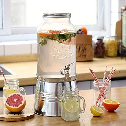 yunyu Jarra Jumbo Grande de Vidrio de 4 litros, garrafas con Grifo, para Bebidas, cócteles, jugos, Bebidas, dispensador de Vino, para Bebidas frías o Calientes, ponche, Agua Helada para Fiestas