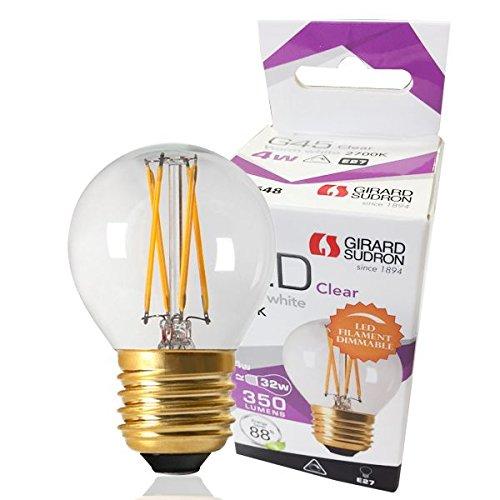 Girard Sudron 28648-LED 45mm Golfball G45 Ampoule LED Filament E27 (ES culot à vis) Transparent, Blanc chaud, 350 lumens, intensité variable, 4 W
