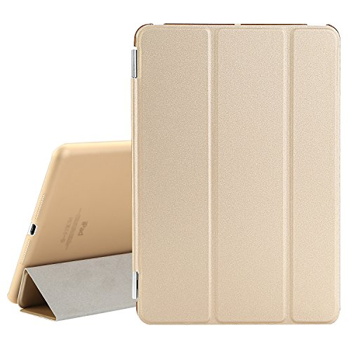 BESDATA Ultra Thin Magnetic Smart Cover [Wake/Sleep Function] & Translucent Back Case for Apple 1st Gen Generation iPad Mini + Screen Protector + Cleaning Cloth + Stylus (Gold)