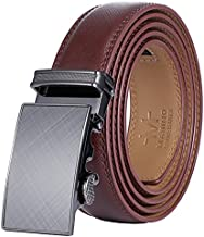 Marino Men's Genuine Leather Ratchet Dress Belt With Automatic Buckle, Enclosed in an Elegant Gift Box - Radiant Ore - Umber - Adjustable from 28