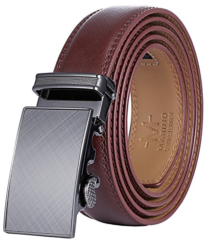 Marino Men's Genuine Leather Ratchet Dress Belt With Automatic Buckle, Enclosed in an Elegant Gift Box - Gunblack Silver - Adjustable from 28' to 44' Waist