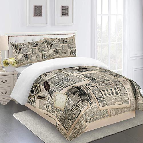 MENGBB 3D Fundas de edredón para cama infantil Patrón de periódico vintage - 230x220cm Tener 4 Tamaño, 3D Funda nórdica Juego de Ropa de Cama de Microfibra Ligera (1 Funda nórdica + 2 Fundas d