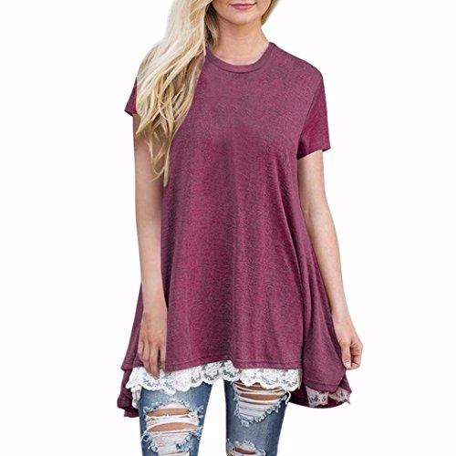 Gedruckt Kurzarm Oberteile Damen SHOBDW Neueste Sommer Damen Casual Spitze Kurzarm Shirt Pullover Tops Bluse, 4 Farben/Multi-Größe S-XL (S, Weinrot)