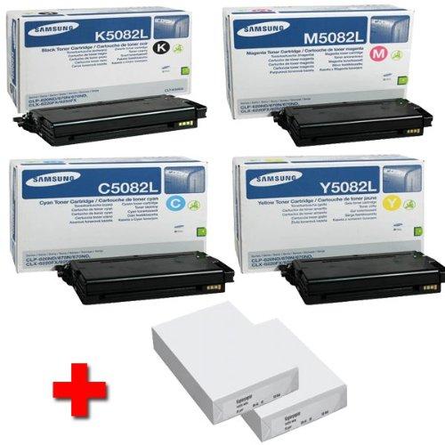 Samsung CLX 6220 FX original Tonerkit CLT - K5082L / ELS (schwarz) / CLT - C5082L / ELS (Cyan) / CLT - M5082L / ELS (Magenta) / CLT - Y5082L / ELS (gelb) + 2 x 500 Blatt DIN A4 Laserpapier 80g/m²