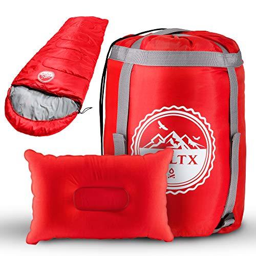 BOLTX - Schlafsack Outdoor | 210x75cm Rot | Komfort 10-0 Grad | Winter- und Sommerschlafsack für Kinder und Erwachsene + gratis Reisekissen