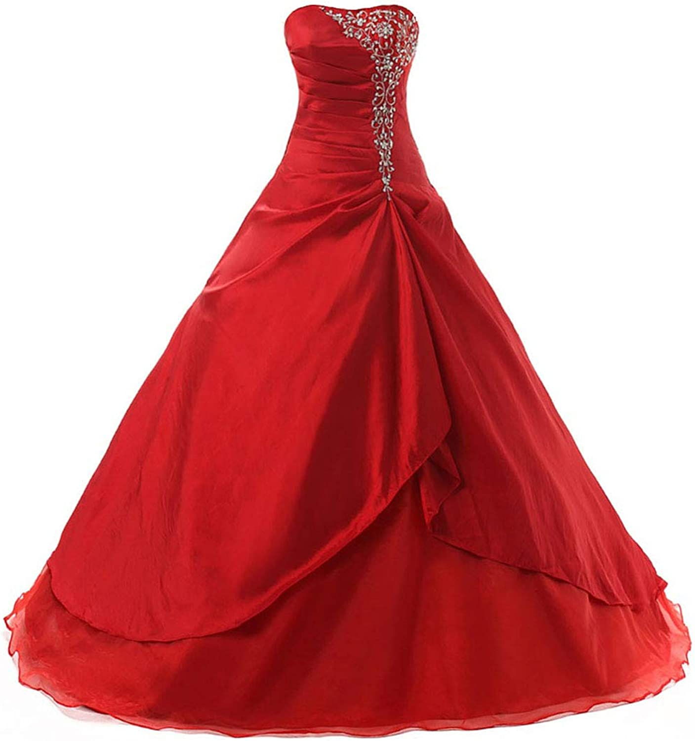 Vantexi Women's Embroidery Taffeta Formal Prom Dress Quinceanera Gowns