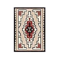 トルコのインドのエスニックスタイルのシンプルな幾何学的な茶色のリビングルームの寝室のフロアマットはベッドサイドカーペットを研究しています