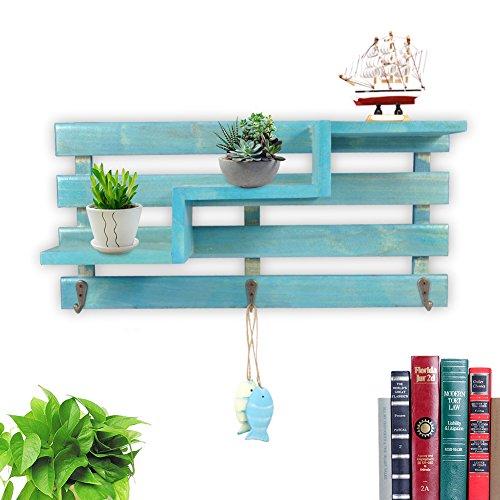 Fdit Étagère murale en bois Style rétro Design tendance Pour rangement livres CD décorations plantes Décoration murale bleu