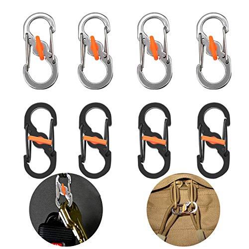 S Typ Karabiner S-Ring-Karabiner 8 Stück Karabiner S Haken S Form Karabinerhaken Rucksackschnalle Camping Schlüsselanhänger mit Schloss Diebstahlschutz für Outdoor Camping Rucksack Taschen Hundemarken