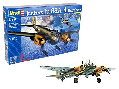 Revell Modellbausatz Flugzeug 1:72 - Junkers Ju88A-4 Bomber im Maßstab 1:72, Level 4, originalgetreue Nachbildung mit vielen Details, 04672