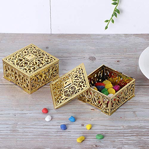 Leftwei Caja de Dulces de Colores Brillantes, contenedor de Dulces, tecnología de galvanoplastia de múltiples Capas de plástico PS joyería de Boda para Fiestas de recién Nacidos día de(Golden)