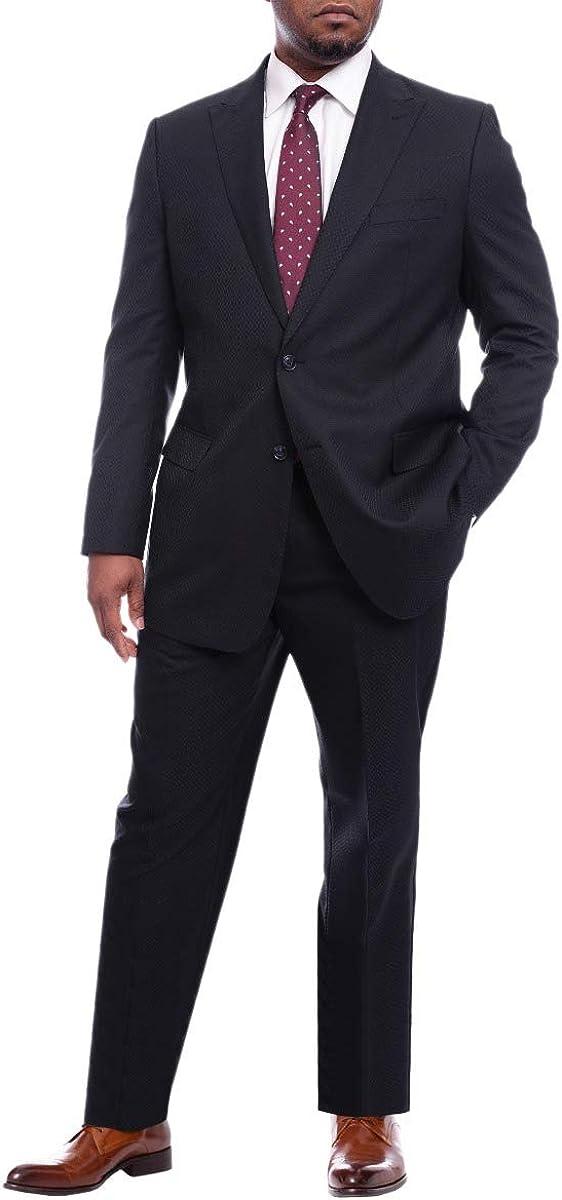 Steven Land Classic Fit Navy Blue Tonal Check Wool Suit Peak Lapels