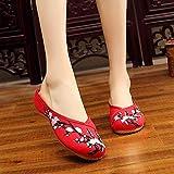 Zapatos Bordados para Mujeres Flores de Ciruela Mujeres Bordadas de algodón Mulas Zapatillas Damas Cerca del Dedo del pie Libre cómodo Zapatos Planos Zapatos Mujer Tacones Bordados Linyn