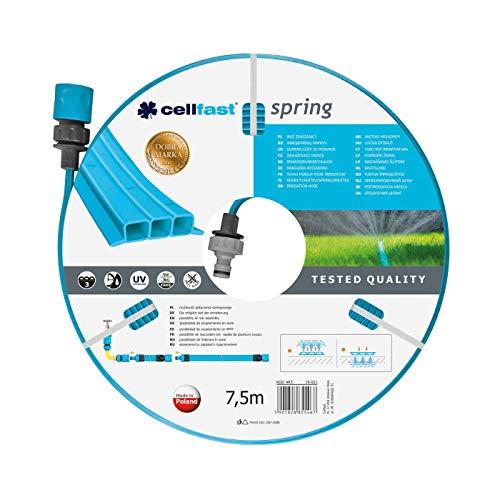 Cellfast Bewässerungsschlauch SPRING Dreikanalbewässerungsschlauch mit kompletten Verbindungsstücken aus Garn höchster Qualität, UV-Strahlenbeständig, 7,5m, 1/2 zoll, 19-021