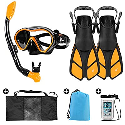 Odoland 6-in-1 Kids Snorkeling Packages Snorkel Set, Anti-Fog and Anti-Leak Full Face Snorkel Mask with Adjustable Swim Fins, Beach Blanket and Waterproof Case for Boys and Girls Age 9-15 Orange