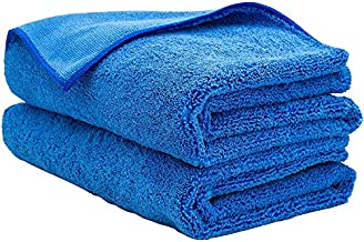AIDEA Microfiber Drying Towel-2PK, Cleaning Cloths, Scratch-Free, Strong Water Absorption Drying Towel for Cars, SUVs, RVs, Trucks, and Boats Gifts(24 in. x 31 in.)-Blue