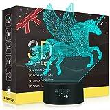Einhorn 3D Lampe,Besrina LED Nachtlicht Illusion Lampen 7 Farben ändern Berührungssteuerung USB Optische schreibtischlampe, Nachttischlampen für Kinder Weihnachten Geburtstag Beste Geschenk Spielzeug