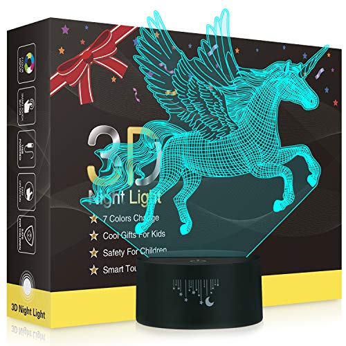 Einhorn 3D Lampe,Besrina LED Nachtlicht Illusion Lampen 7 Farben ändern Berührungssteuerung USB...
