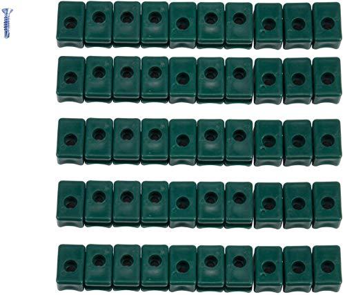 100 st. Kunststoff Spanndrahthalter mit Schraube PVC mit V2A Spange inkl. Bohrschrauben gruen (100 stk.) Ersatz