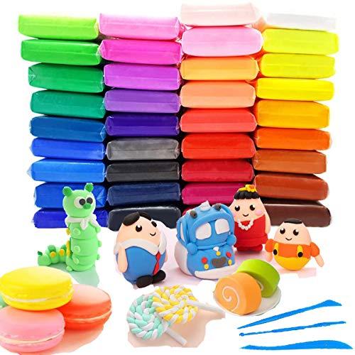 RYTECH Arcilla Seca al Aire 36 Colores DIY Arcilla Colorida de Caucho de Barro Magia Plastilina, Segura y No Tóxica, Regalo Creativo de Cumpleaños para Niños de 3 años/5 años/7 años