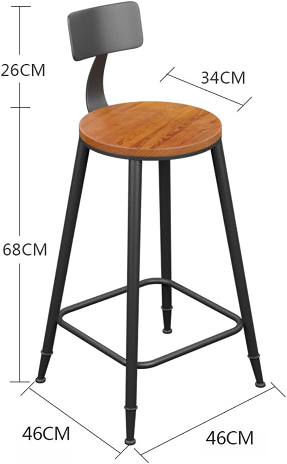 LHA Barstools Wrought Iron Solid Wood Bar Chair Bar Stool High Chair Front Desk Chair Bar Furniture (Size   68CM)