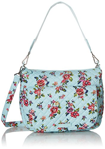 Vera Bradley Signature Cotton Carson Shoulder Bag Crossbody Purse, Water Bouquet