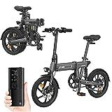 IKAYAA 16 Pollici Bicicletta Elettrica Pieghevole Servoassistito Ciclomotore E-Bike,Modalità Elettrica Pura 55KM,Con Pompa ad Aria