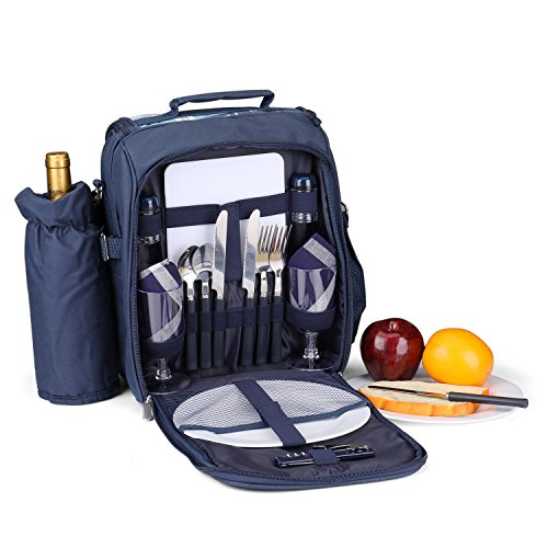 Flexzion Picnic Backpack Kit - Camping Bag Set for 2 Person with Cooler Compartment, Detachable Bottle/Wine Holder, Plates and Flatware Cutlery Insulated Lunch Pack for Family (Plaid Tartan - Blue)
