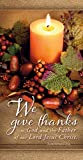 Thanksgiving and Festive theme Shrink wrapped package of 100 Also available in coordinating letterhead, bookmarks, letter and legal-size bulletins Beautiful full-color - 6.25 x 1.65 inches For special Thanksgiving offering use