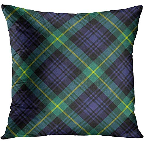 MJDIY kussenslopen, groene kilt Gordon Tartan check patroon 10 geen verlopen blauwe geruite Ierse decoratieve kussenslopen voor thuiskantoor rust