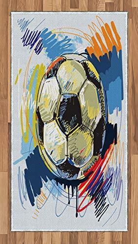 ABAKUHAUS Fútbol Alfombra de Área, Esfera Pelota de Fútbol Ilustración con Detalles Desgastados Coloridos Movimiento, Tejido Durable Decoración para Cualquier Ambiente, 80 x 150 cm, Multicolor