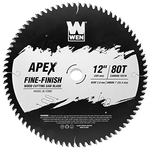 WEN BL1280C Apex 12-Inch 80-Tooth Carbide-Tipped Fine-Finish Industrial-Grade Woodworking Saw Blade with Cool-Cut Coating