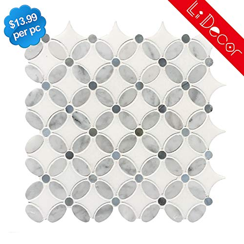 Carrara Louis Flower Marble Mosaic Tiles Polished-5Pack(3.9sq.ft)