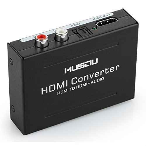 Musou Audio Extractor,HDMI to HDMI R/L SPDIF Toslink Audio Adattatore e Video Convertitore, Supporto 3D 1080P Hi-Fi Musica, Nero