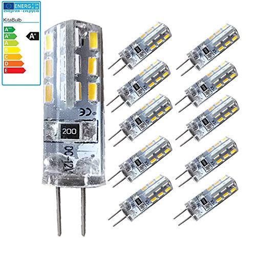 KitaBulb - Lampadina LED equivalente a 10 W, classe di efficienza energetica A+, G4, luce bianca fredda (6200 K), 110 lumen, gel di silice, confezione da 10